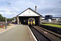 Terminus at Wick on 15 August 1989 with the 1217 hrs service from Dingwall having just arrived.<br><br>[John McIntyre&nbsp;15/08/1989]