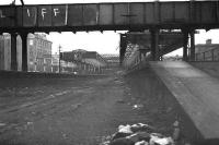 Aberdeen north end demolition in February 1973. Looking back towards the main station from the end of bay platforms 10 and 11.<br><br>[John McIntyre&nbsp;/02/1973]