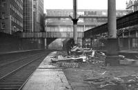 Looking north along platform 8 in February 1973 with the first of the canopies demolished.<br><br>[John McIntyre&nbsp;/02/1973]