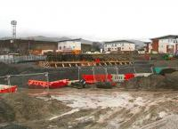 Base for the station building under construction at Alloa on 15 December, view north. <br><br>[John Furnevel&nbsp;/12/2006]
