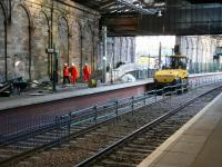 Members of the construction team enter the Balmoral platform off the ramp from Calton Road yard on 15 December 2006. Note the gap in the new platform which provided track level access for plant and equipment has now been closed up. [See image 10831]<br><br>[John Furnevel&nbsp;15/12/2006]