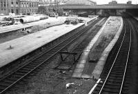 Looking back towards the station over the north end platforms in 1973 with the walkway and canopies gone and new construction work about to start.<br><br>[John McIntyre&nbsp;/08/1973]