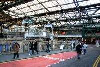 The north ramp from Waverley Bridge to the station's western concourse on 15 December 2006, with work continuing in the background on the new walkways, stairs and escalators.<br><br>[John Furnevel&nbsp;15/12/2006]