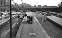 Aberdeen August 1973. Looking south over the remains of the north bays towards Guild Street Bridge as the first site hut appears and construction preparations get underway.<br><br>[John McIntyre&nbsp;/08/1973]
