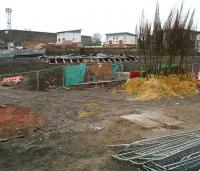 View north over Alloa station site on 22 December 2006. No work taking place. Plastic sheeting covers the base of the station building and a selection of young trees has appeared ready for planting.  <br><br>[John Furnevel&nbsp;/12/2006]