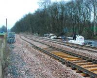 Looking east towards Alloa from the east end of the passing loop just east of Cambus. The marshalling yard was to the right.<br><br>[Ewan Crawford&nbsp;26/12/2006]