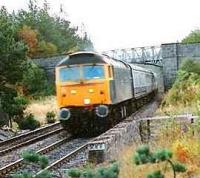 <i>The Royal Highlander</i> passing Moy Loop it will arrive at 0820 in Inverness.<br><br>[Brian Forbes&nbsp;/02/1988]