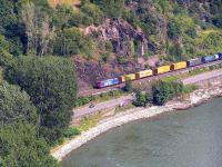 Northbound freight container train on the east bank of the Rhine. This line is primarily used for freight; express passenger trains use the line on the west bank of the river.<br><br>[Paul D Kerr&nbsp;19/07/2006]