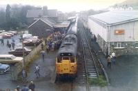 The end. The <I>'Last Train to Torrington'</I> railtour following arrival at Torrington station on 6 November 1982. The locomotive is 31174, with 31158 on the other end of the train.<br><br>[Ian Dinmore&nbsp;06/11/1982]