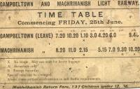 Old timetable fom the Campbeltown and Machrihanish Light Railway.<br><br>[Ian Dinmore&nbsp;//]
