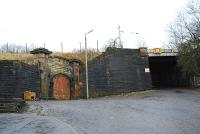 The grand (and bricked up) entry to Upper Greenock. Entry was by a tunnel as the station had an island platform.<br><br>[Ewan Crawford&nbsp;03/01/2007]