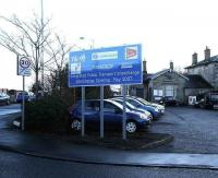 Sign outside Markinch station on 10 January 2006 announcing the construction of a new Integrated Public Transport Interchange. [See image 13048]<br><br>[John Furnevel&nbsp;10/01/2006]