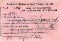 Train staff ticket issued at Sidlesham station, Sussex in 1933 on a railway with a strange name.<br><br>[Ian Dinmore&nbsp;//]