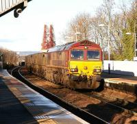 Coal empties from Longannet rumble off the Forth Bridge and into Dalmeny station on 10 January in bright Winter sunshine.<br><br>[John Furnevel&nbsp;10/01/2007]