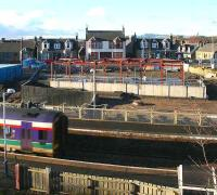 View west over Markinch station on 10 January showing construction work on main building and new west side entrance.<br><br>[John Furnevel&nbsp;10/01/2007]