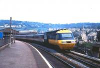 An InterCity 125 departs from Bath in May 1985.<br><br>[John McIntyre&nbsp;/05/1985]