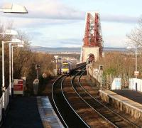 A Fife bound service runs onto the Forth Bridge from Dalmeny station in Jan 2007.<br><br>[John Furnevel&nbsp;/01/2007]