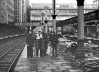 Suitably attired and equipped team of demolition specialists involved with the removal of the platform canopies at the north end of Aberdeen station in February 1973.<br><br>[John McIntyre&nbsp;/02/1973]
