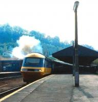InterCity 125 at Bath in 1985. The now famous brand first appeared on a Paddington - Wolverhampton train <I>The Inter-City</I> in 1950. It went on to be poached by transport operators around the world. <br><br>[John McIntyre&nbsp;//1985]