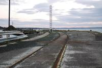 Track still on the old pier. Looking south at Cainryan.<br><br>[Ewan Crawford 17/10/2004]