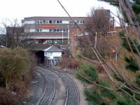 Looking south to Ashington Junction and signal box in March 2004.<br><br>[Ewan Crawford 20/03/2004]