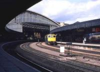 Bristol Temple Meads station in May 1985 with a class 33 at the platform.<br><br>[John McIntyre&nbsp;/05/1985]