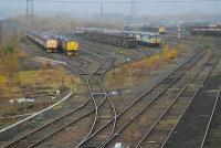 Looking west along the Wakefield - Mirfield line at the up staging sidings at Healey Mills Marshalling Yard. The sidings are now mainly used for locomotive storage.<br><br>[Ewan Crawford&nbsp;21/11/2006]