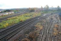 Looking south from Rotherham Masborough. The line to the left is the old Midland mainline to Chesterfield and to the right the line to Sheffield.<br><br>[Ewan Crawford&nbsp;21/11/2006]