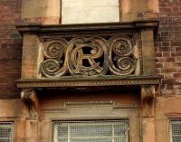 Lanarkshire and Dumbartonshire Railway, CR crest on the station building at Clydebank Riverside. Architect J. J. Burnet.<br><br>[Alistair MacKenzie //]