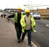 All smiles! Alloa station construction team members, 23 January 2007.<br><br>[John Furnevel&nbsp;23/01/2007]
