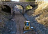 Alloa, 250107. Tracklaying progress to the west of the old station site. <br><br>[Bill Roberton&nbsp;25/01/2007]