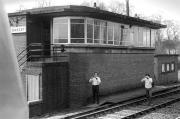 Oakley signal box in 1974.<br><br>[Bill Roberton&nbsp;//1974]