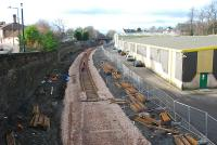 Track being laid within the confines of the old Alloa station in January 2007.<br><br>[Ewan Crawford&nbsp;27/01/2007]
