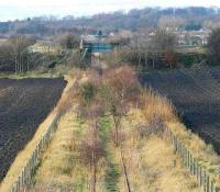 Looking west over the former Roslin branch as it leaves Millerhill in January 2007. Bridge no 2 in the middle distance marks the current limit of Railtrack property. [See image 50526]<br><br>[John Furnevel&nbsp;19/01/2007]