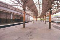 A view of the Wemyss Bay platforms in 1985. The boarded up entrance on the far platform led to a small rest room and store once used by tradesmen.<br><br>[John Gray&nbsp;/07/1985]
