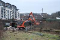 Partick Central being torn down in January 2007. View east across the site of the platforms to Benalder Street bridge. <br><br>[Ewan Crawford&nbsp;28/01/2007]