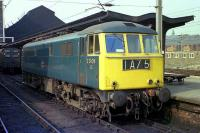 Class 86 E3108 sits in platform 4C at Preston on 27 March 1974. The loco has just been taken off a London to Carlisle service and replaced by a diesel prior to through electric haulage being introduced.<br><br>[John McIntyre&nbsp;27/03/1974]