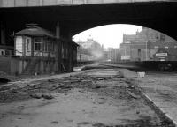 Aberdeen 1973. Looking north from the abandoned platforms under Union Street bridge as a special leaves platform 6.<br><br>[John McIntyre&nbsp;//1973]