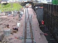 Looking east towards the new Alloa station on 31 January 2007.<br><br>[Jeffray Wotherspoon&nbsp;31/01/2007]