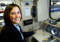 Eva Brodie at work as a driver with First ScotRail.<br><br>[First ScotRail&nbsp;1/02/2007]