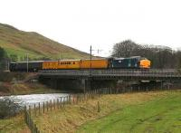 DRS 37611 brings up the rear of a Departmental measurement train heading south over the Clyde at Lamington on 31 January.<br><br>[John Furnevel&nbsp;31/01/2007]