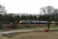 Measurement train led by 37605 with 37611 at the rear heads south at Lamington on 31 January.<br><br>[John Furnevel&nbsp;31/01/2007]