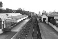 Duns station from the road bridge looking east, c. 1960. [See image 29451]<br><br>[D Chandler Collection&nbsp;//1960]