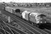 A class 26 takes a freight south through Millerhill yard in 1977.<br><br>[Bill Roberton&nbsp;//1977]