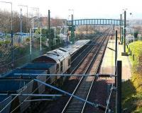 Northbound coal empties through Wallyford in February 2007.<br><br>[John Furnevel&nbsp;21/02/2007]