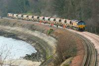 Ballast train with 66191 (front) and 66223 between Aberdour and Burntisland on Sunday 4 Jan. Lammerlaws road bridge in Burntisland was replaced on the same day. <br><br>[Bill Roberton 4/01/2007]