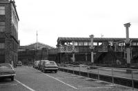 Aberdeen, March 1973. Looking south across the GNS platforms during demolition with the roof of the main station visible in the background. On the right is a short bay not given platform status.<br><br>[John McIntyre&nbsp;/03/1973]