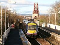 Fife circle train leaves Dalmeny on 10 January and heads out onto the Forth Scaffolding ...errr Bridge.<br><br>[John Furnevel&nbsp;10/01/2007]