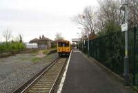South end of the single line Ormskirk station on 09 January 2007 with a Merseyrail electric service ready to leave for Liverpool. <br><br>[John McIntyre&nbsp;09/01/2007]