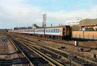 London bound service arriving at Basingstoke on 26 January 1990.<br><br>[John McIntyre 26/01/1990]